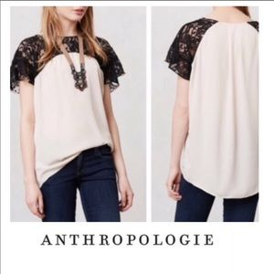 Anthropologie Maeve Penumbra Lace Blouse Top